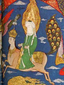 Representación de Mahoma surcando los cielos junto a Al-Bourak